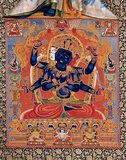 In the practice of the Guhyasamāja Tantra, the central deity of the Guhyasamāja is blue-black Akshobhyavajra, a form of Akshobhya, one of the five transcendent lords (pañcatathāgata).<br/><br/>  Akshobhyavajra holds a vajra and bell (ghanta) in his first two hands, and other hands hold the symbols of the four other transcendent lords: wheel of Vairocana and lotus of Amitabha in his right hands, and gem of Ratnasambhava and sword of Amoghasiddhi in his left hands.<br/><br/>  The maṇḍala consists of thirty-two deities in all.