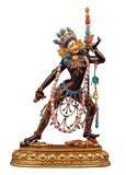 A dakini (Sanskrit: ḍākinī; Tibetan: khandroma) is a tantric deity described as a female embodiment of enlightened energy. In the Tibetan language, dakini is rendered khandroma which means 'she who traverses the sky' or 'she who moves in space'. Sometimes the term is translated poetically as 'sky dancer' or 'sky walker'.<br/><br/>  The dakini, in all her varied forms, is an important figure in Tibetan Buddhism. She is so central to the requirements for a practitioner to attain full enlightenment as a Buddha that she appears in a tantric formulation of the Buddhist Three Jewels refuge formula known as the Three Roots. Most commonly she appears as the protector, alongside a guru and yidam (enlightened being).<br/><br/>  Although dakini figures appear in Hinduism and in the Bön tradition, dakini are particularly prevalent in Vajrayana Buddhism and have been particularly conceived in Tibetan Buddhism where the dakini, generally of volatile or wrathful temperament, act somewhat as a muse for spiritual practice.<br/><br/>  Dakini are energetic beings in female form, evocative of the movement of energy in space. In this context, the sky or space indicates shunyata, the insubstantiality of all phenomena, which is, at the same time, the pure potentiality for all possible manifestations.